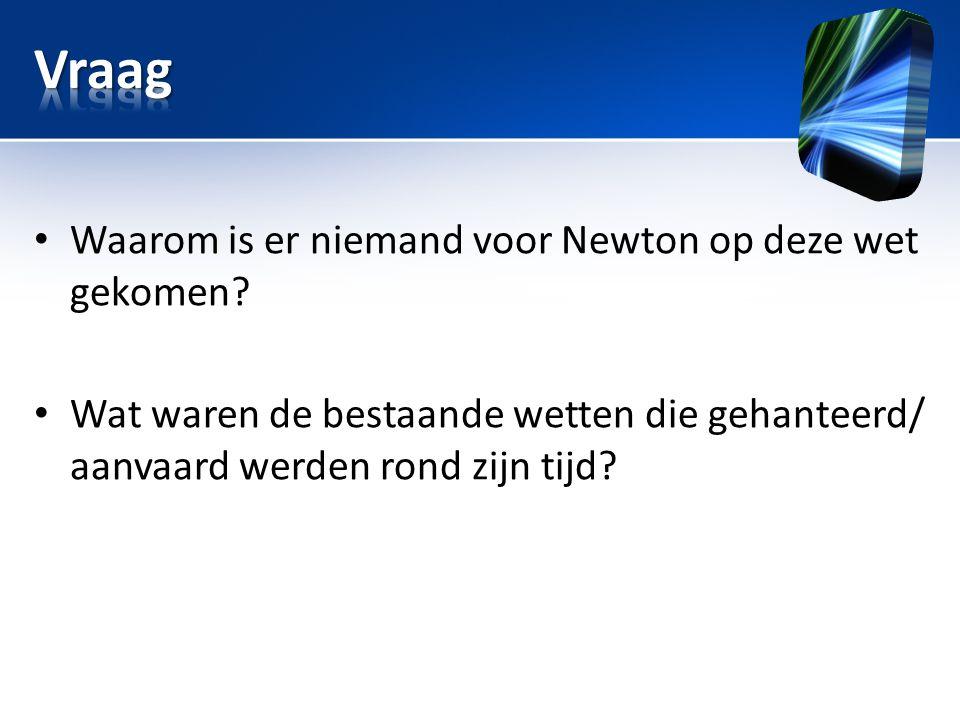 Vraag Waarom is er niemand voor Newton op deze wet gekomen