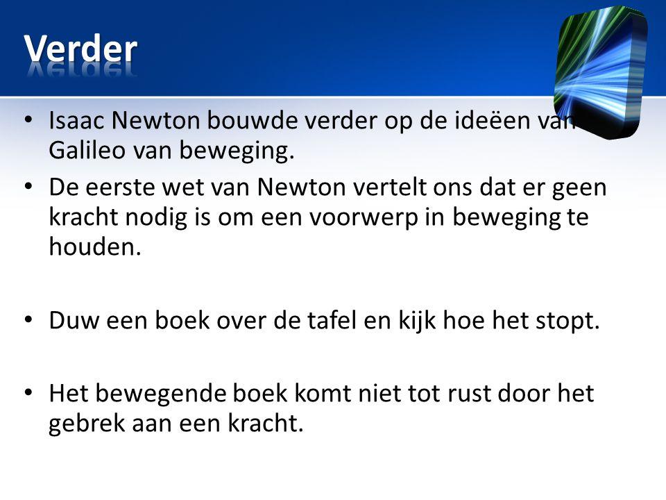 Title Verder. Isaac Newton bouwde verder op de ideëen van Galileo van beweging.