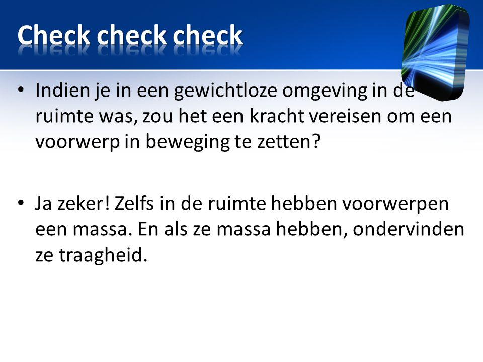 Title Check check check. Indien je in een gewichtloze omgeving in de ruimte was, zou het een kracht vereisen om een voorwerp in beweging te zetten