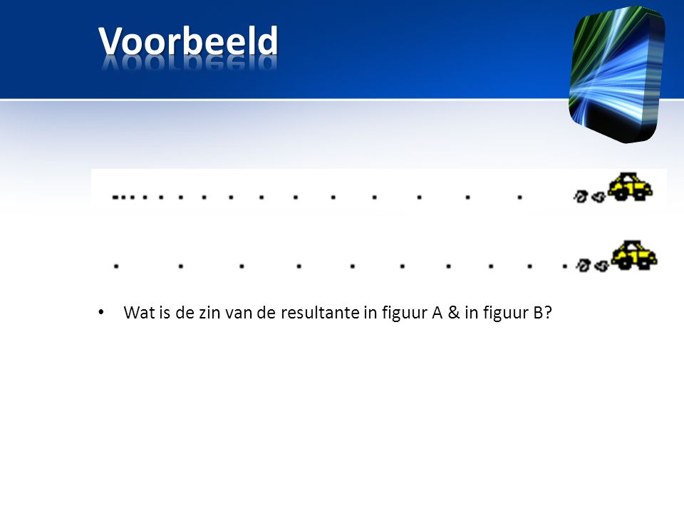 Voorbeeld Wat is de zin van de resultante in figuur A & in figuur B