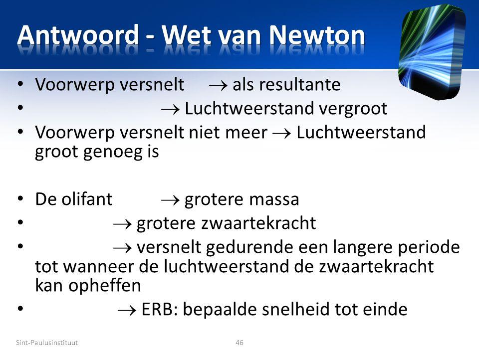 Antwoord - Wet van Newton