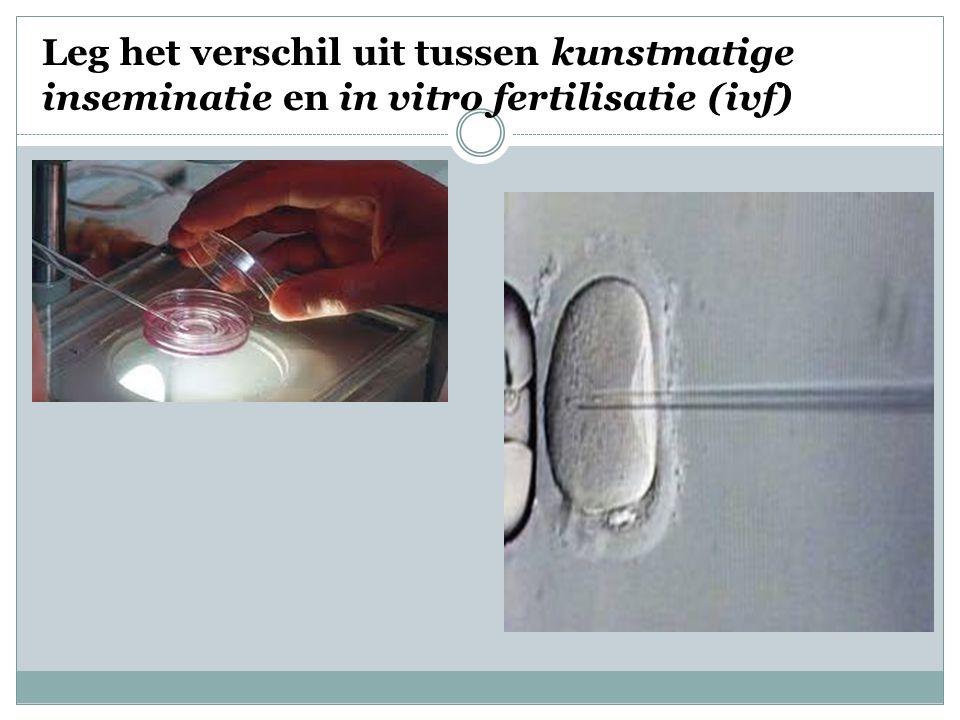 Leg het verschil uit tussen kunstmatige inseminatie en in vitro fertilisatie (ivf)