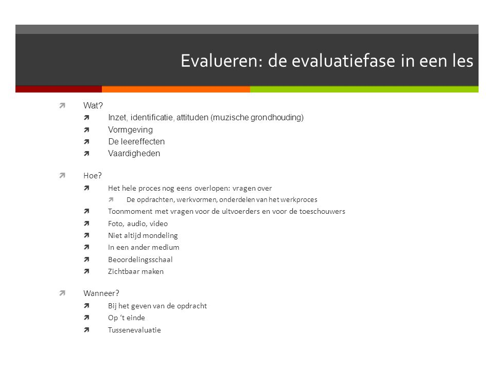 Evalueren: de evaluatiefase in een les