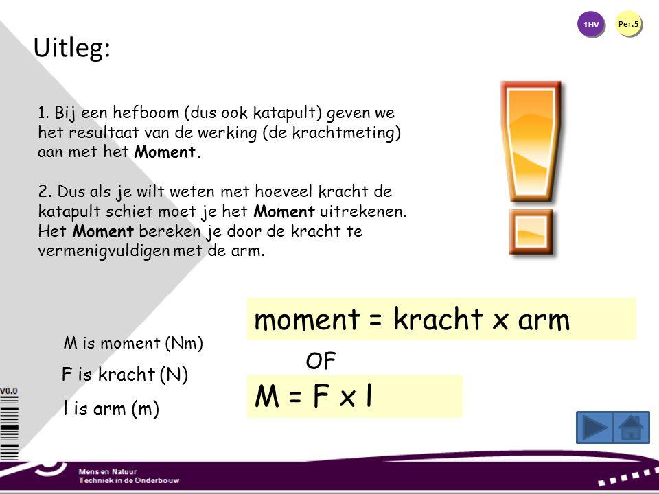 Uitleg: moment = kracht x arm M = F x l OF F is kracht (N)