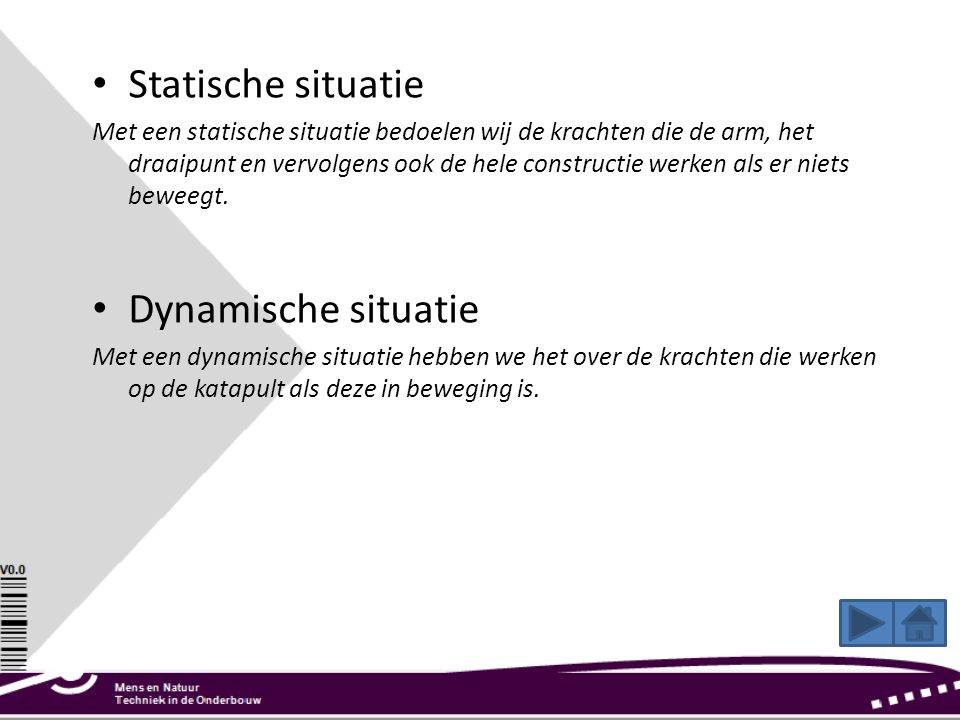 Statische situatie Dynamische situatie