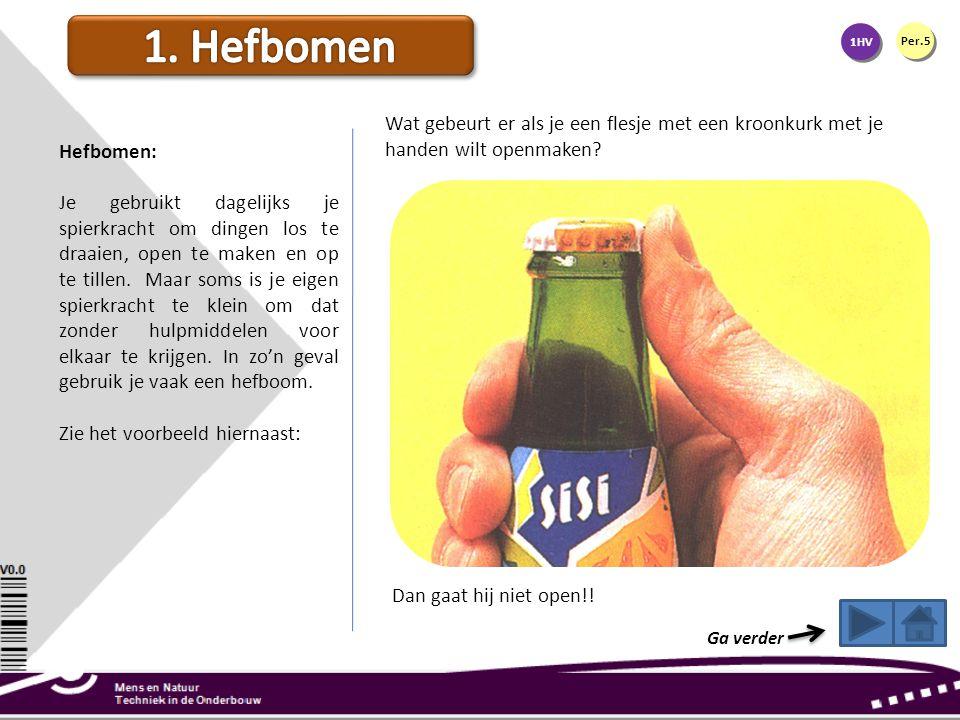 1. Hefbomen 1HV. Per.5. Wat gebeurt er als je een flesje met een kroonkurk met je handen wilt openmaken
