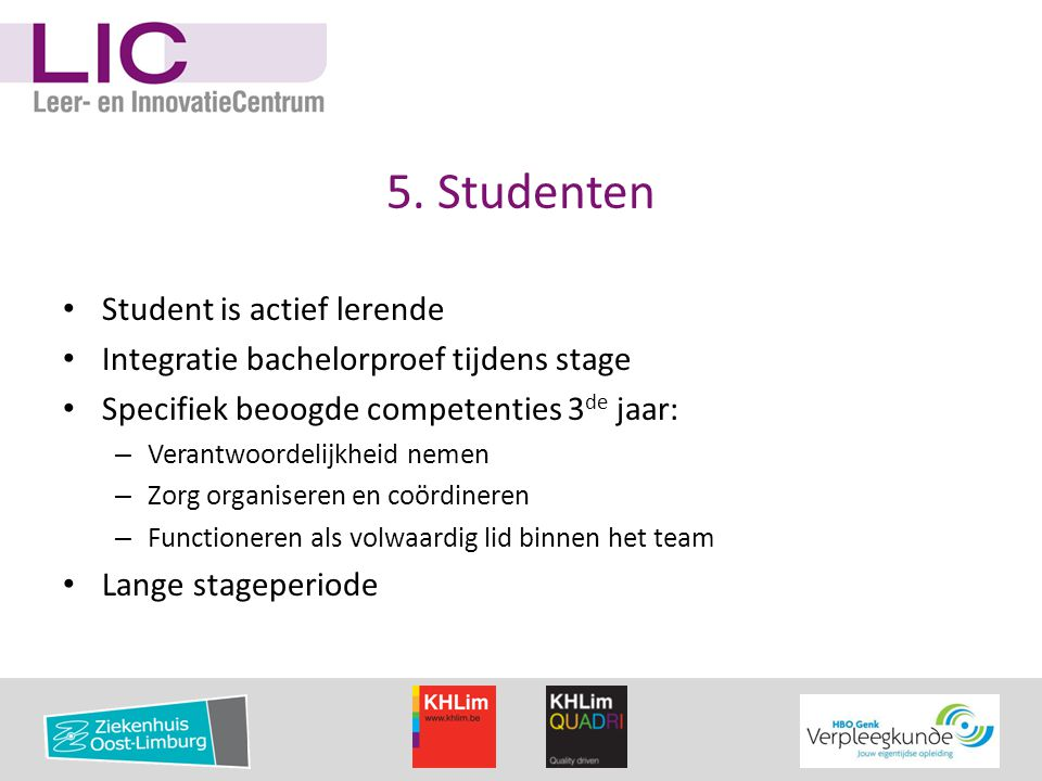 5. Studenten Student is actief lerende