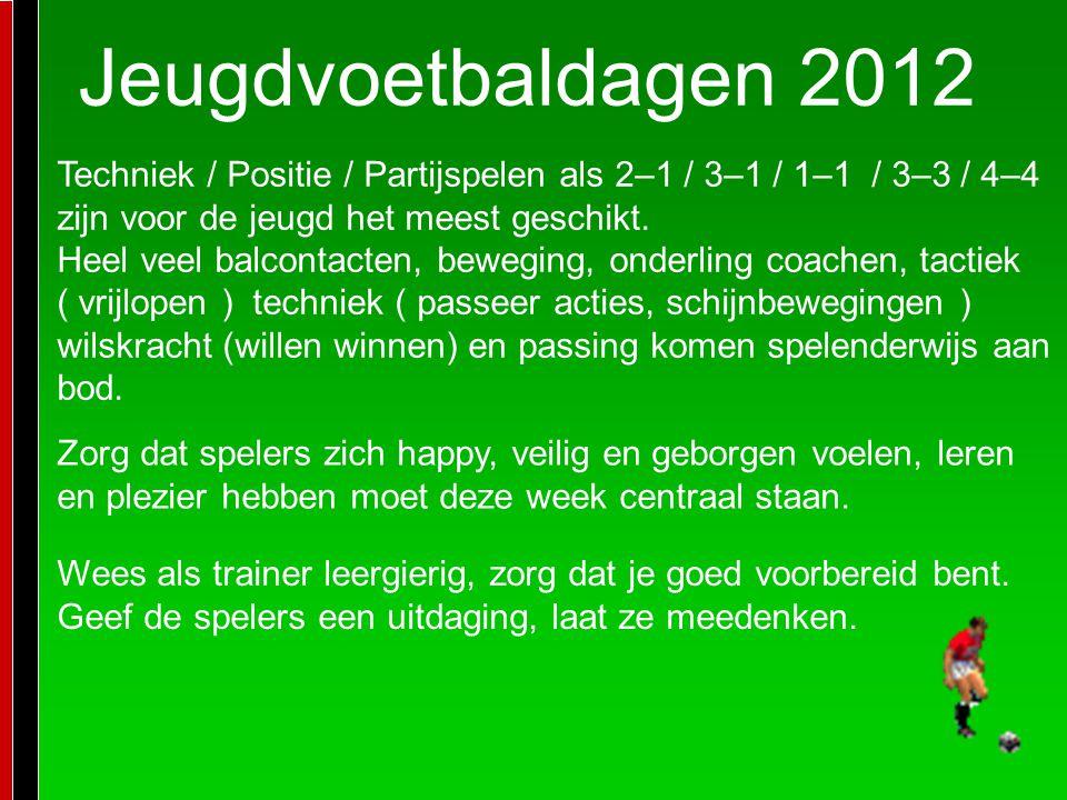 Jeugdvoetbaldagen 2012 Techniek / Positie / Partijspelen als 2–1 / 3–1 / 1–1 / 3–3 / 4–4 zijn voor de jeugd het meest geschikt.