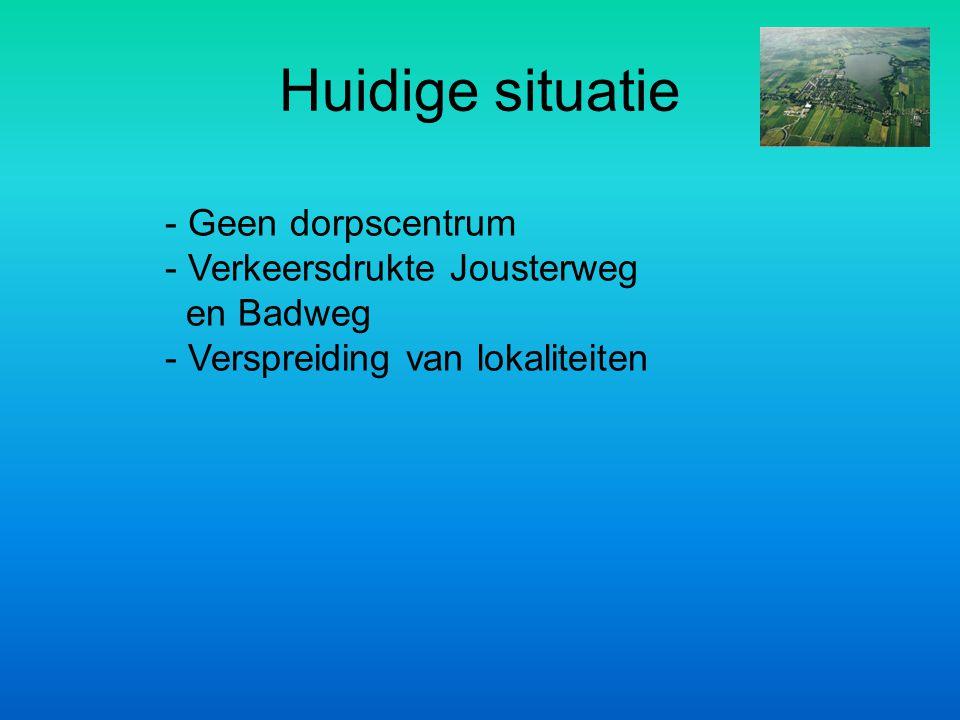 Huidige situatie - Geen dorpscentrum Verkeersdrukte Jousterweg