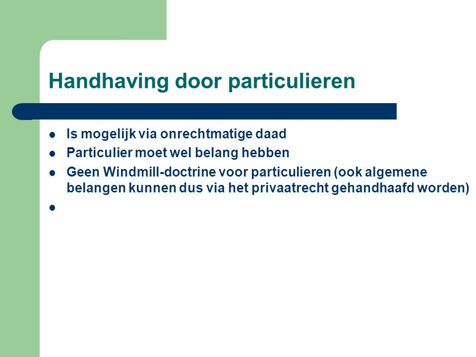Handhaving door particulieren