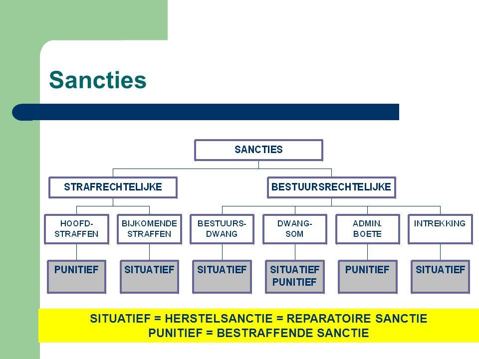 Sancties SITUATIEF = HERSTELSANCTIE = REPARATOIRE SANCTIE