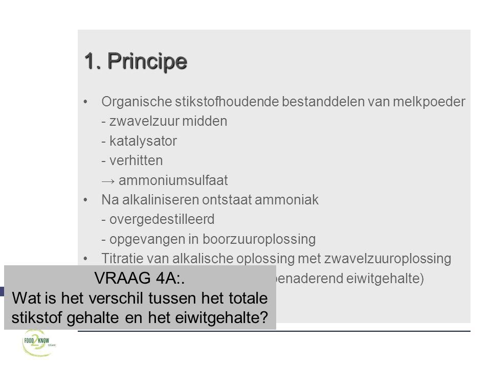 1. Principe Organische stikstofhoudende bestanddelen van melkpoeder. - zwavelzuur midden. - katalysator.