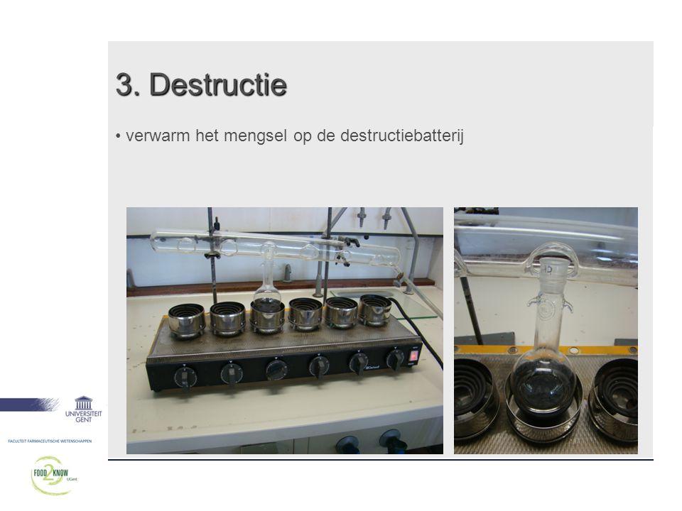 3. Destructie verwarm het mengsel op de destructiebatterij