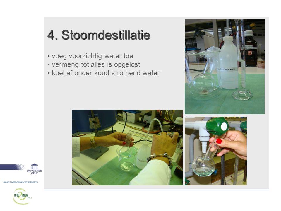 4. Stoomdestillatie voeg voorzichtig water toe
