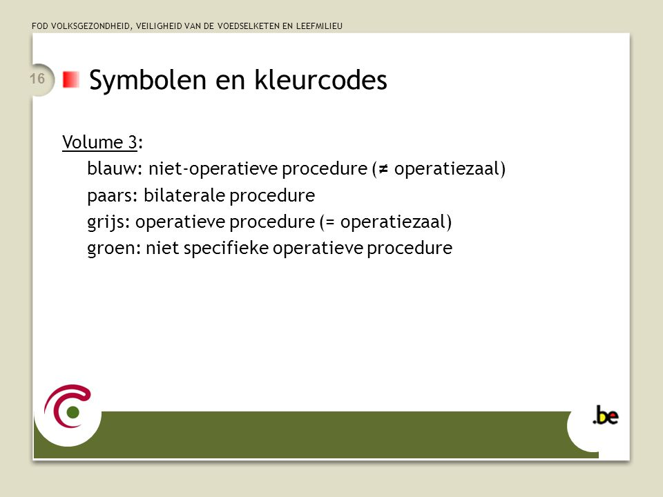 Symbolen en kleurcodes