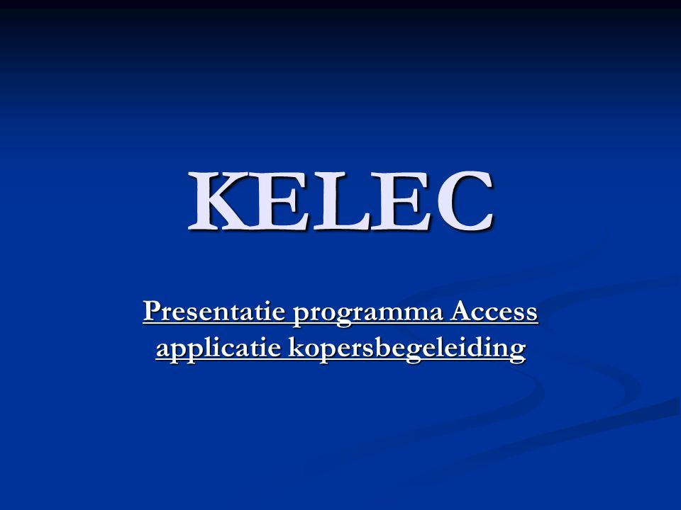 Presentatie programma Access applicatie kopersbegeleiding