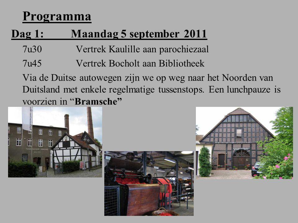 Programma Dag 1: Maandag 5 september 2011