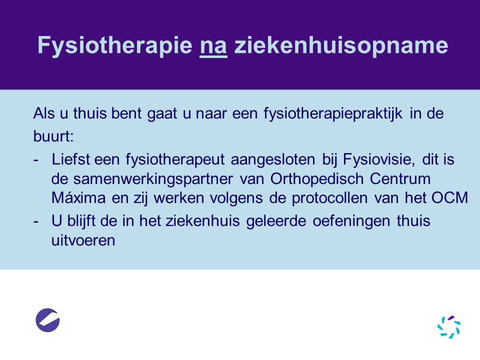 Fysiotherapie na ziekenhuisopname