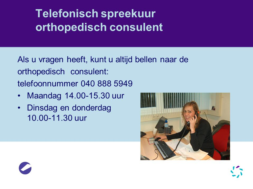 Telefonisch spreekuur orthopedisch consulent