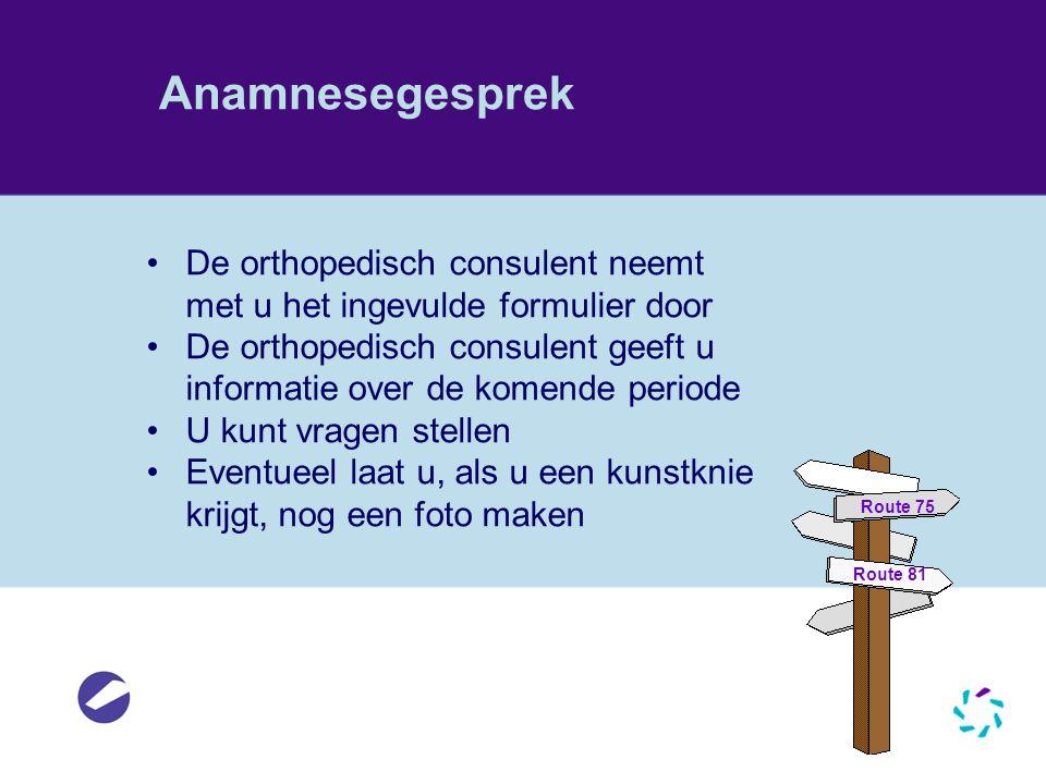 Anamnesegesprek De orthopedisch consulent neemt met u het ingevulde formulier door.