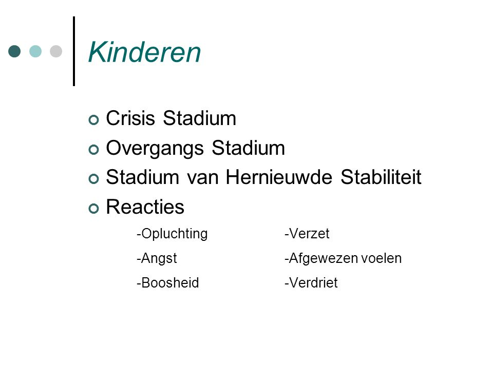 Kinderen Crisis Stadium Overgangs Stadium