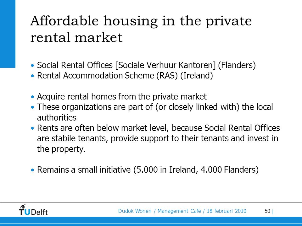 Affordable housing in the private rental market