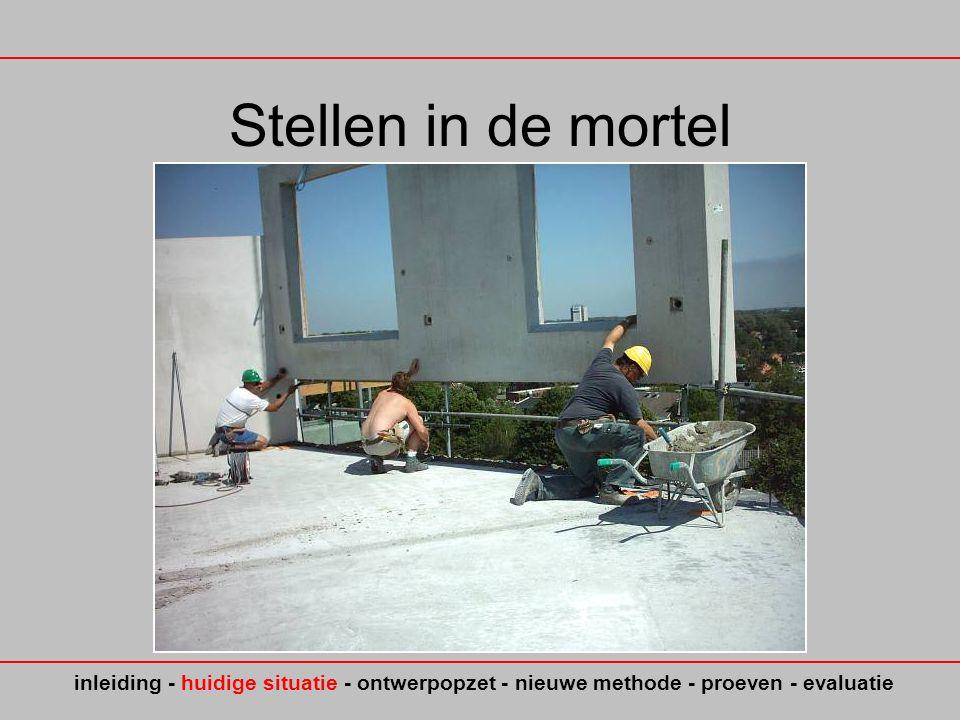 Stellen in de mortel inleiding - huidige situatie - ontwerpopzet - nieuwe methode - proeven - evaluatie.