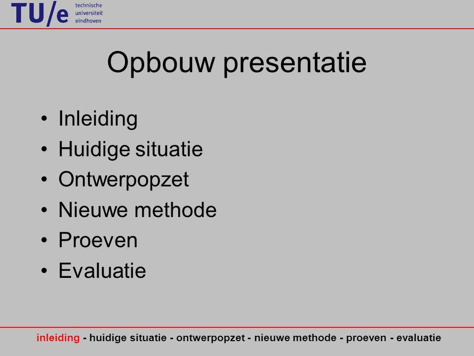 Opbouw presentatie Inleiding Huidige situatie Ontwerpopzet