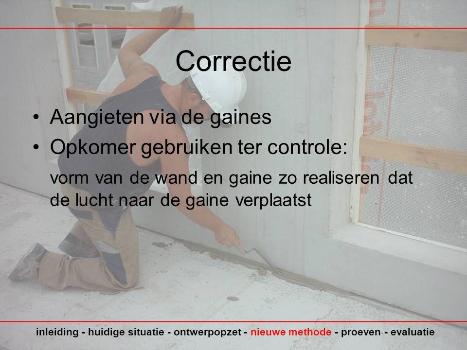Correctie Aangieten via de gaines Opkomer gebruiken ter controle: