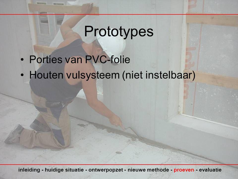 Prototypes Porties van PVC-folie Houten vulsysteem (niet instelbaar)