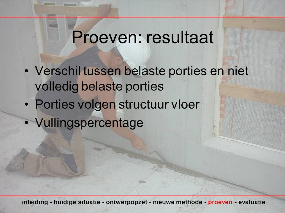 Proeven: resultaat Verschil tussen belaste porties en niet volledig belaste porties. Porties volgen structuur vloer.