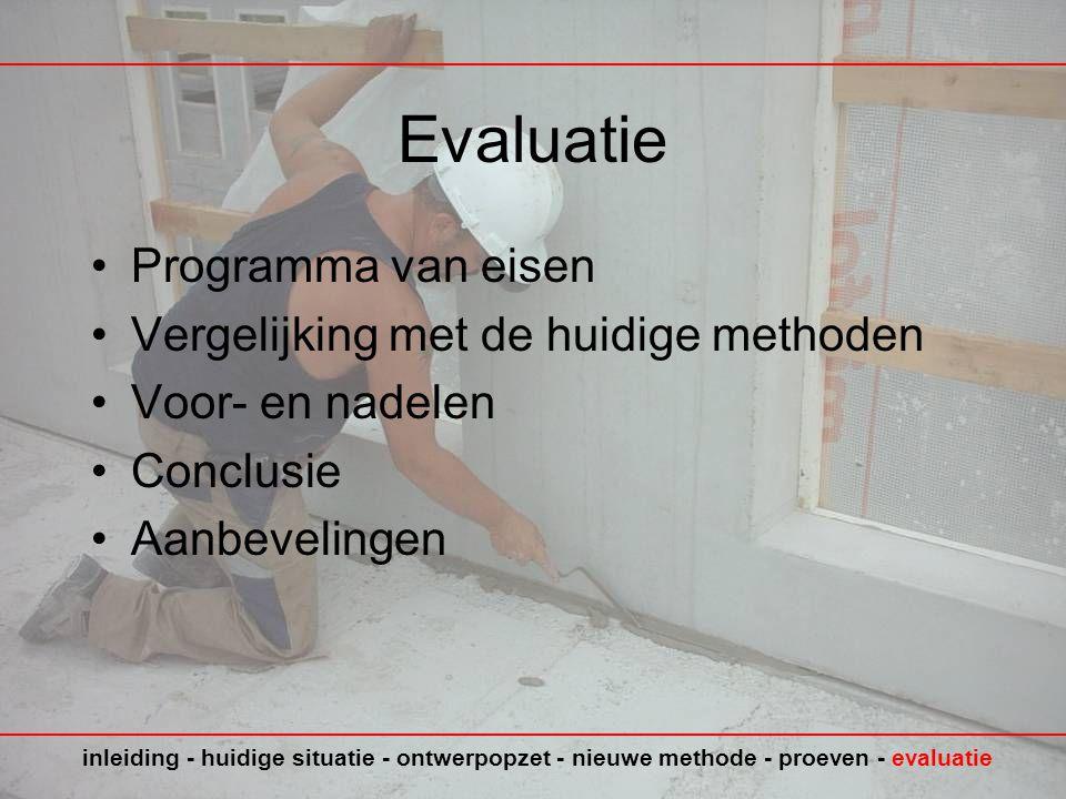 Evaluatie Programma van eisen Vergelijking met de huidige methoden