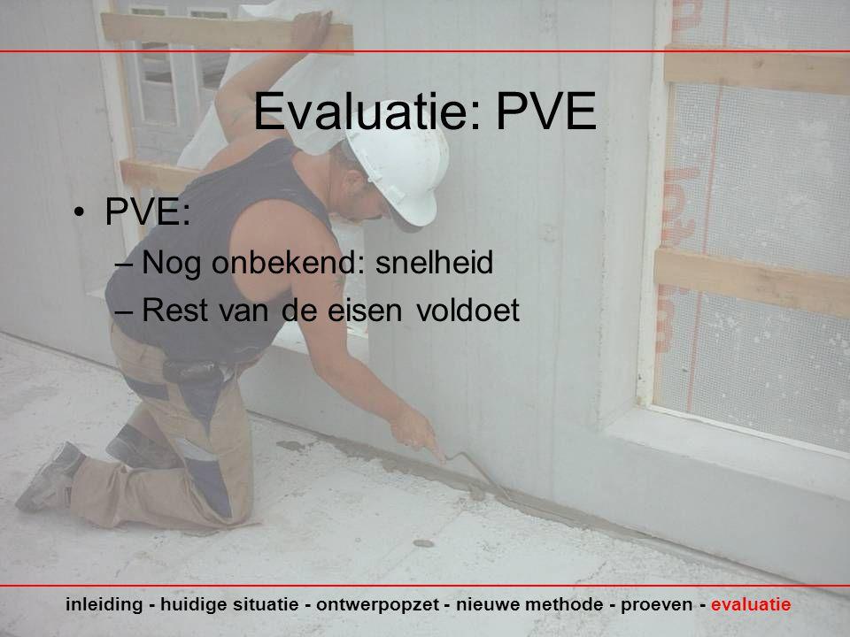 Evaluatie: PVE PVE: Nog onbekend: snelheid Rest van de eisen voldoet