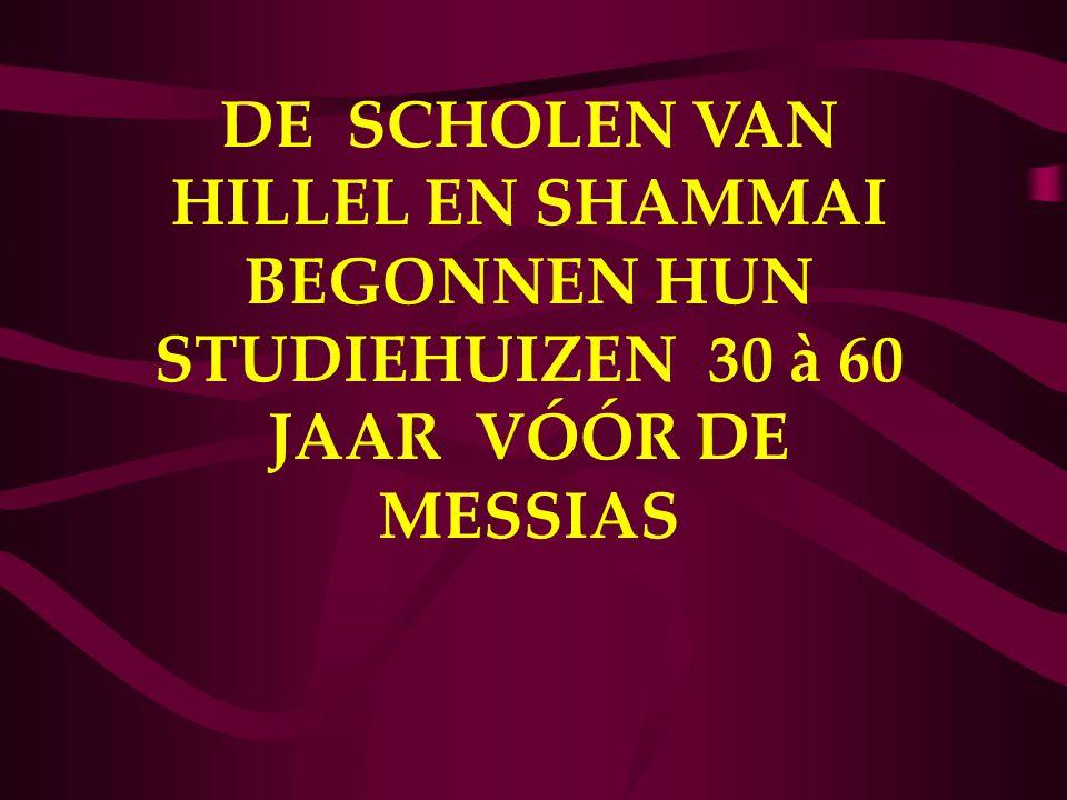 DE SCHOLEN VAN HILLEL EN SHAMMAI BEGONNEN HUN STUDIEHUIZEN 30 à 60 JAAR VÓÓR DE MESSIAS