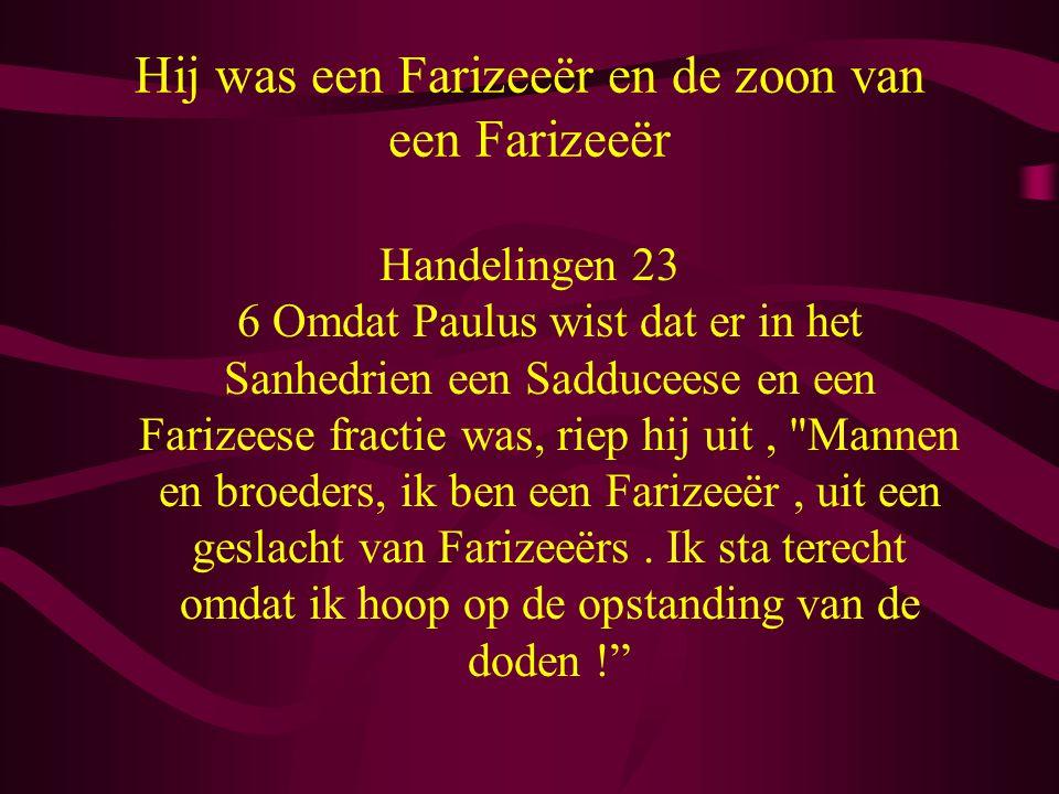 Hij was een Farizeeër en de zoon van een Farizeeër