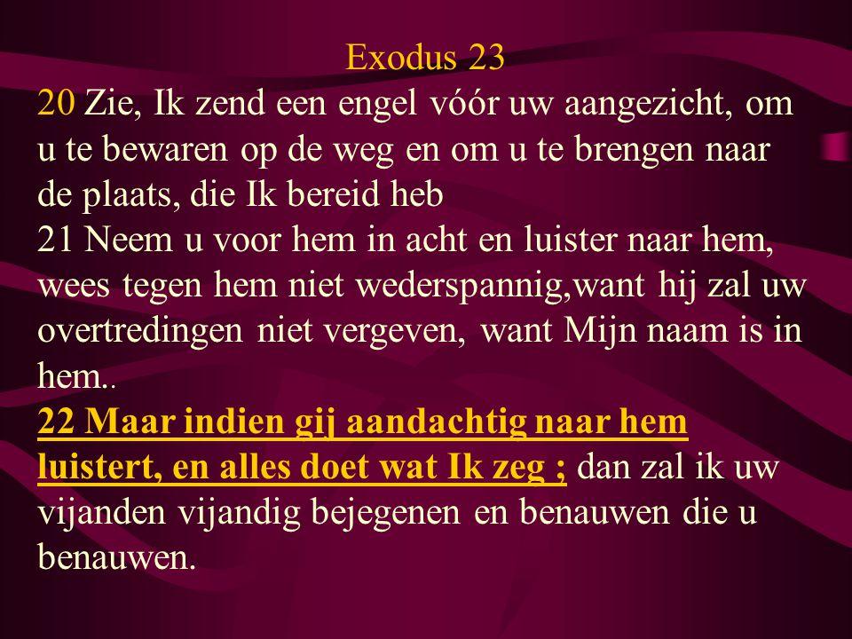 Exodus 23 20 Zie, Ik zend een engel vóór uw aangezicht, om u te bewaren op de weg en om u te brengen naar de plaats, die Ik bereid heb.