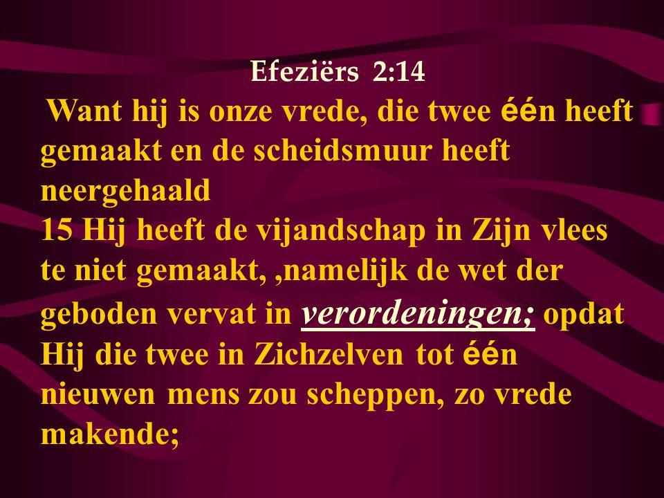 Efeziërs 2:14 Want hij is onze vrede, die twee één heeft gemaakt en de scheidsmuur heeft neergehaald.