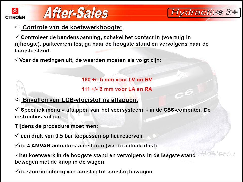 After-Sales Hydractive 3+ Controle van de koetswerkhoogte: