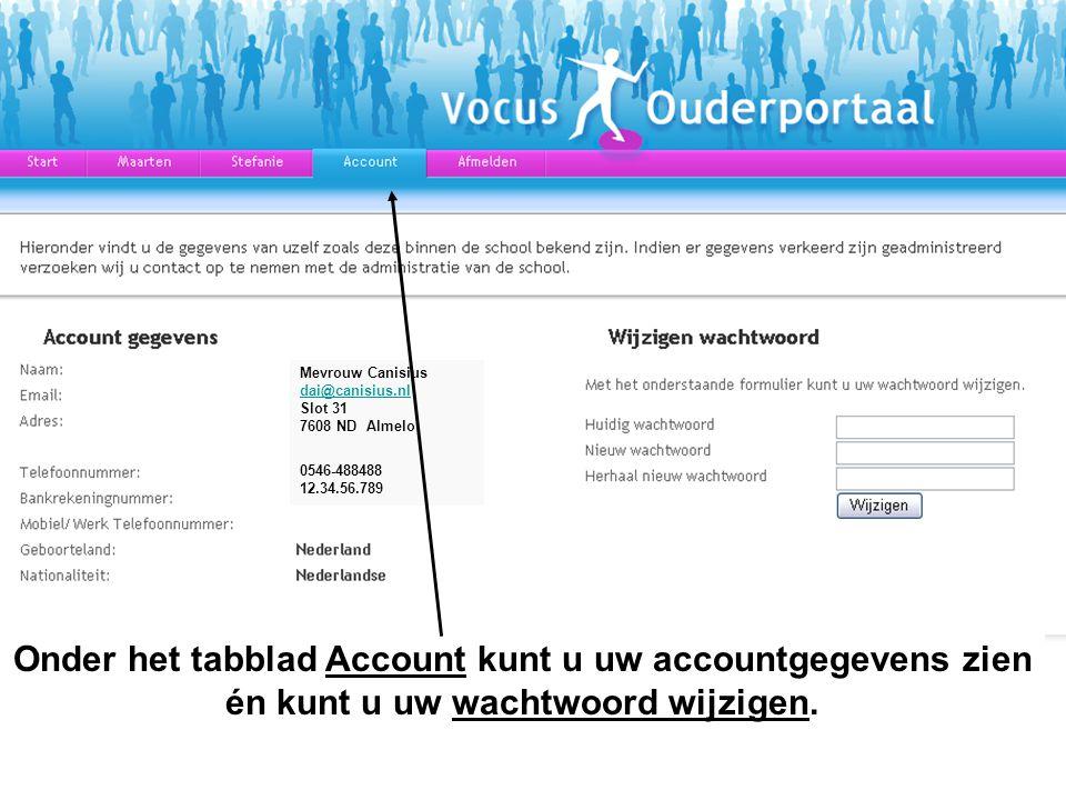 Onder het tabblad Account kunt u uw accountgegevens zien én kunt u uw wachtwoord wijzigen.