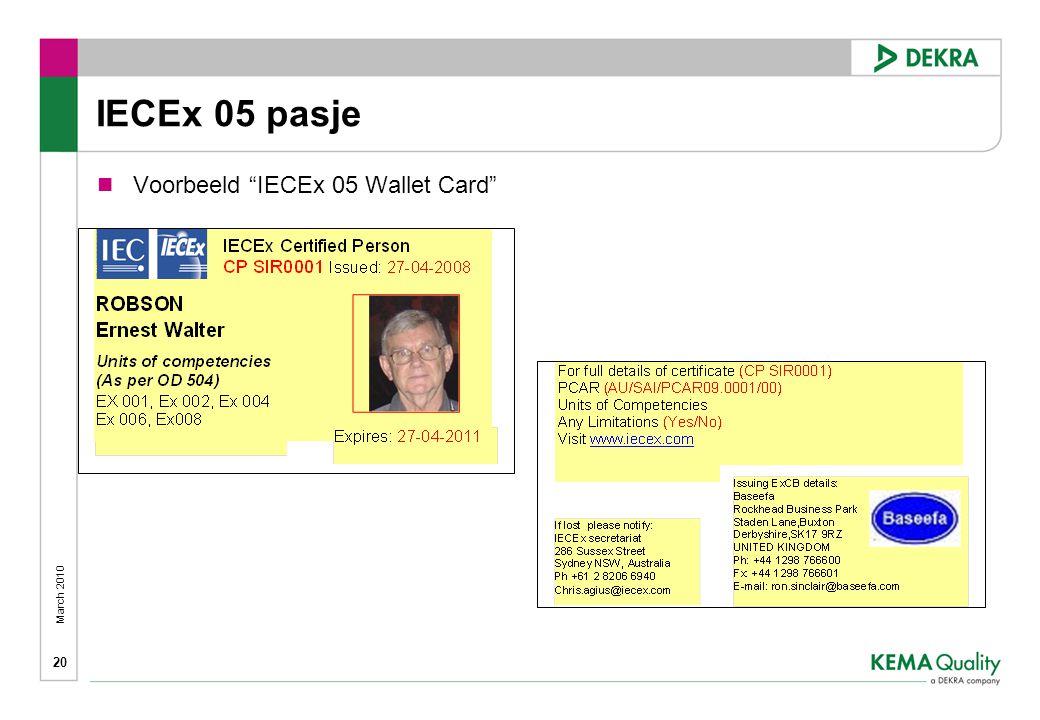 IECEx 05 pasje Voorbeeld IECEx 05 Wallet Card