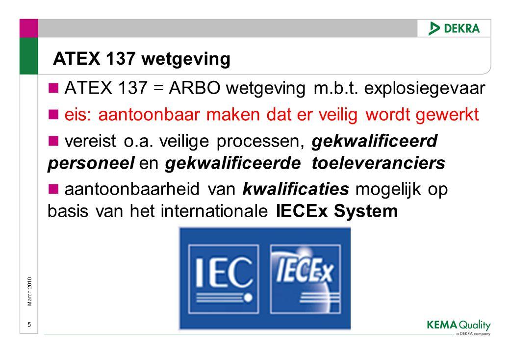 ATEX 137 wetgeving ATEX 137 = ARBO wetgeving m.b.t. explosiegevaar. eis: aantoonbaar maken dat er veilig wordt gewerkt.