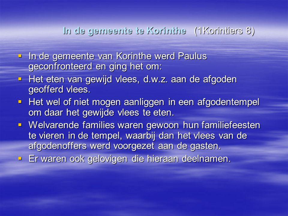 In de gemeente te Korinthe (1Korintiers 8)