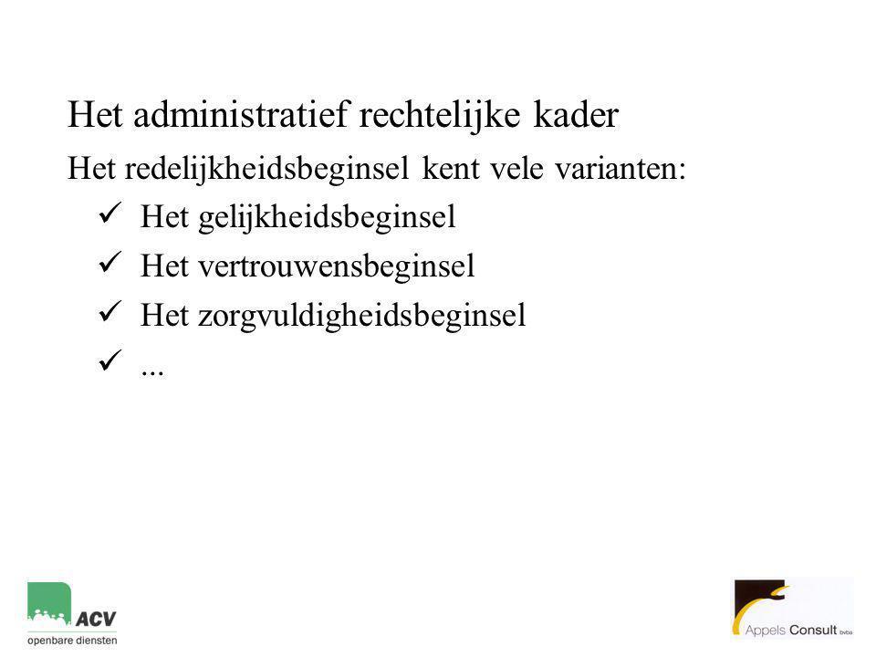 Het administratief rechtelijke kader