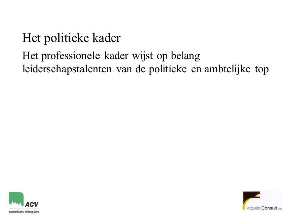 Het politieke kader Het professionele kader wijst op belang leiderschapstalenten van de politieke en ambtelijke top.