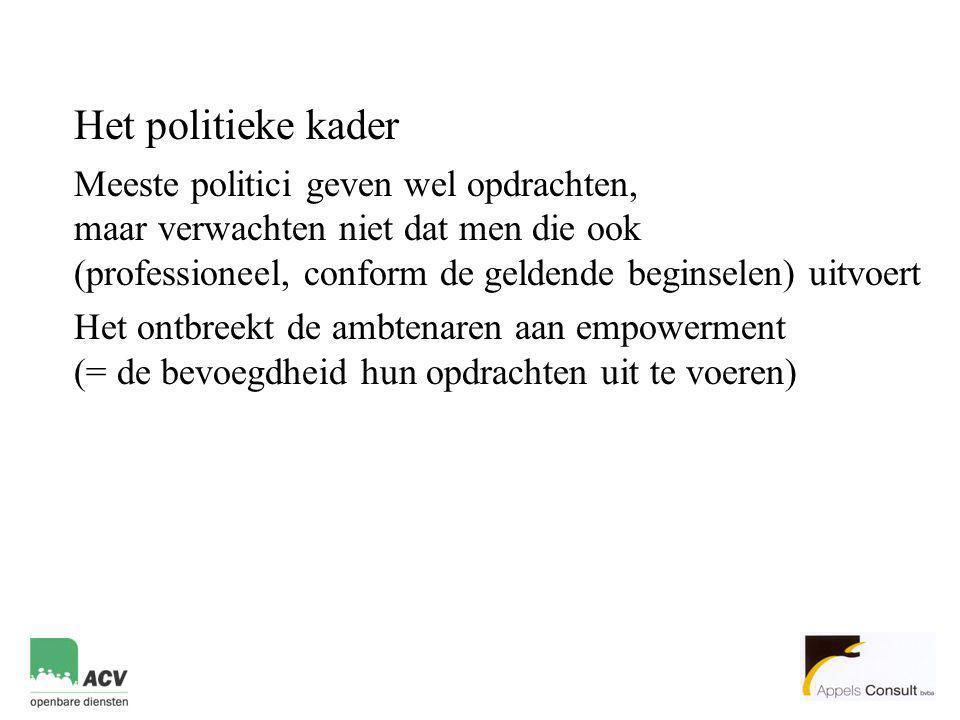 Het politieke kader