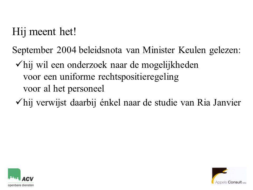 September 2004 beleidsnota van Minister Keulen gelezen: