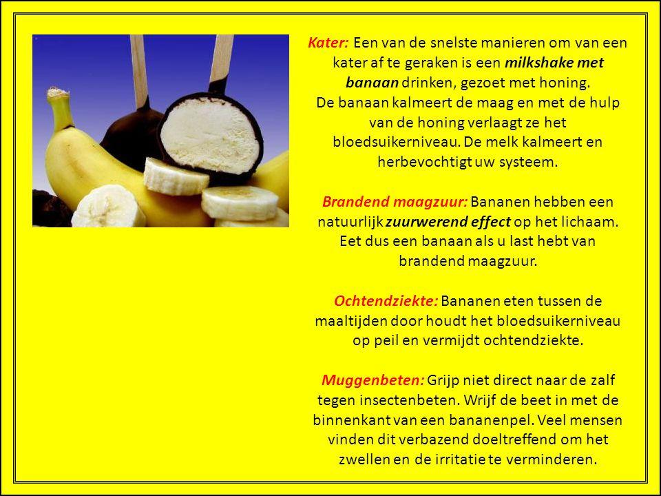 Kater: Een van de snelste manieren om van een kater af te geraken is een milkshake met banaan drinken, gezoet met honing. De banaan kalmeert de maag en met de hulp van de honing verlaagt ze het bloedsuikerniveau. De melk kalmeert en herbevochtigt uw systeem.