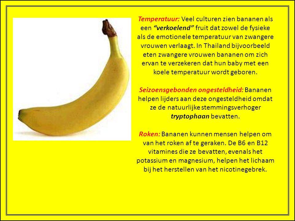 Temperatuur: Veel culturen zien bananen als een verkoelend fruit dat zowel de fysieke als de emotionele temperatuur van zwangere vrouwen verlaagt. In Thailand bijvoorbeeld eten zwangere vrouwen bananen om zich ervan te verzekeren dat hun baby met een koele temperatuur wordt geboren.