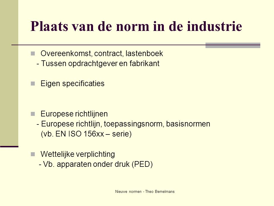 Plaats van de norm in de industrie