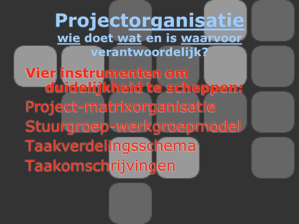 Projectorganisatie wie doet wat en is waarvoor verantwoordelijk